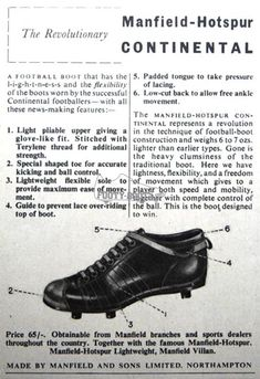 The Revolutionary Manfield-Hotspur Football Boot, 1950 Soccer Boots, Football Boots, Sports Footwear, Sports Shoes, Sir Alex Ferguson, School Football, Vintage Football, Vintage Men, Retro