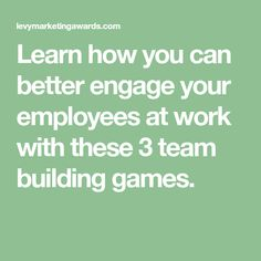 Learn how you can better engage your employees at work with these 3 team building games. Team Building Activities, Work Activities, Office Ice Breakers, Teamwork Games, Staff Appreciation, Employee Engagement, Things To Know, Trauma, Good To Know