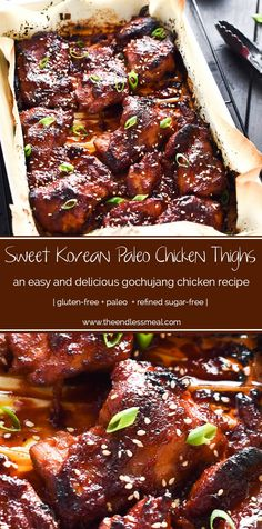 paleo recipes SAVE FOR LATER! These delicious Korean Paleo Chicken Thighs are marinated in a sweet and smoky chili paste called gochujang and make an easy and healthy weeknight meal. Serve them with a side of low carb cauliflower rice. Paleo Menu, Paleo Cookbook, Paleo Dinner, Paleo Recipes, Whole Food Recipes, Cooking Recipes, Paleo Food, Healthy Food, Eating Paleo