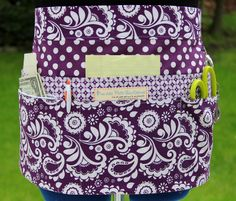 Purple & White Utility/Vendor Apron Double Pockets