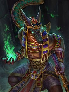 God of the Underworld Anubis ~ Golden Skin Concept Art (Smite) by Andy Timm / PTimm Egyptian Mythology, Egyptian Goddess, Egyptian Art, Fantasy Warrior, Fantasy Art, Final Fantasy, Anubis Tattoo, Gods And Goddesses, Furry Art