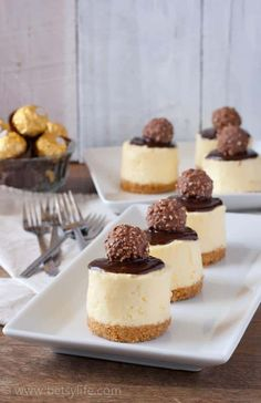 These simple, individual no-bake make-ahead cheesecakes are absolutely perfect for parties and gatherings when you need a special, indulgent dessert. Making them ahead of time means the work is done by the time you're ready to celebrate! #betsylife #nobakecheesecake #ferrerorocher #makeaheaddesserts