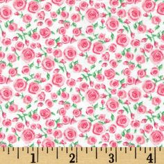 Small Rosette Bright Pink from @fabricdotcom  This cotton print is perfect for quilting and craft projects as well as apparel and home décor accents. Colors include shades of pink, green, and white.