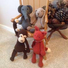 Edwards menagerie animal crochet , elephant Bridget, bunny Emma, fox Esme and chimp Benedict