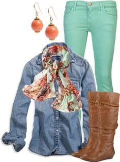 mint green jeans, chambray shirt, brown boots, and scarf
