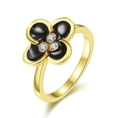 Plated Quad-Clover Stud Ring Size, Women's