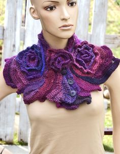 Crochet  Scarf  Capelet Roses Neck Warmer Unique Freeform crochet Schadows Purple Women Freeform Crochet