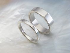 palladium wedding band set -- his and hers simple flat wedding rings