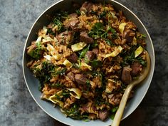 This beef fried rice recipe is a quick one-pot meal—that's even faster if you use leftover rice. Soy sauce and sesame oil provide great Asian flavor.