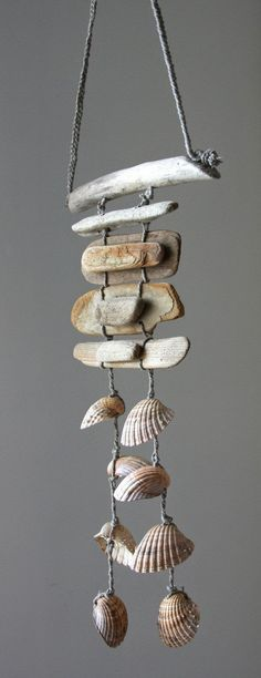 Driftwood Sea Shell Mobile Beach Wind Chime by Seashell Display, Seashell Art, Seashell Crafts, Beach Crafts, Diy And Crafts, Arts And Crafts, Seashell Mobile, Driftwood Projects, Driftwood Art
