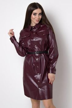 Burgundy Leather Shirt Dress Wet Look Eco Leather Shirtdress Leather Shirt Dress, Leather Dresses, Sexy Outfits, Fashion Outfits, Womens Fashion, Leather Trench Coat, Costume, Plus Size Lingerie, Leather Fashion