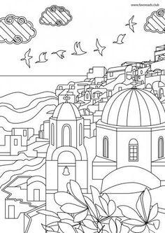 Santorini Printable Adult Coloring Page
