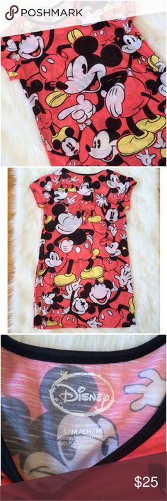 "Disney's The Faces of Mickey Mouse Nightgown Disney's The Faces of Mickey Mouse Nightgown ! 33"" long and 18"" across laid flat. Size Small. Excellent like new condition Disney Intimates & Sleepwear Pajamas"