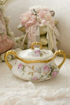 Stunning Antique Limoges France Porcelain Sugar by Jenneliserose