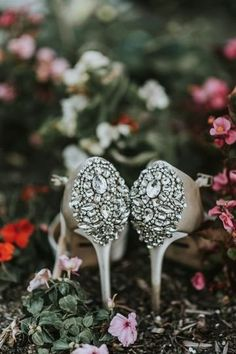 Embellished wedding shoes for bride- heels for bride {Lauren Dorman Photography}