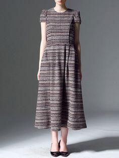 #AdoreWe #StyleWe Pokwai Coffee Paneled Stripes Crew Neck Short Sleeve Maxi Dress - AdoreWe.com