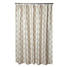tahari milan scroll fabric shower curtain gray and tan pattern on