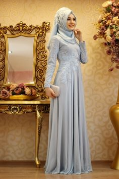 The perfect addition to any Muslimah outfit, shop Gamze Özkul's stylish Muslim fashion Blue - Fully Lined - Crew neck - Muslim Evening Dress. Find more Muslim Evening Dress at Modanisa! Muslim Wedding Gown, Muslim Evening Dresses, Hijab Evening Dress, Evening Gowns With Sleeves, Hijab Wedding Dresses, Blue Evening Dresses, Muslim Dress, Modest Dresses, Blue Dresses