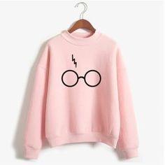 Harry Potter Glasses Print Sweatshirt Women Hoodie O-Neck Long Sleeve Cotton Fleece Sweatshirt Printed Pullover Woman NSW-21568 - free shipping worldwide