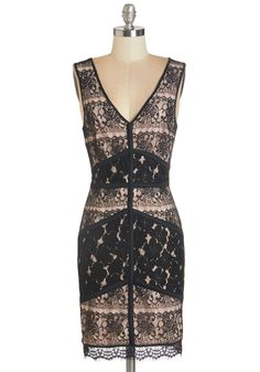 Heads turn as soon as your radiant presence is noticed at the threshold of the party. Greet your crowd of friends and garner compliments in this sleeveless sheath! Panels of black lace grace the palest petal lining of the front of this party dress, while a sheer open back adds darling drama to your entrance.