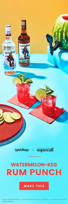 Here's a step-by-step guide to a seriously delicious, crazy-easy Watermelon-Keg Rum Punch using Captain Morgan White Rum and Captain Morgan Original Spiced Rum. Rum Punch Recipes, Drink Recipes, Watermelon Keg, Captain Morgan Rum, Spiced Rum, Daiquiri, Cocktails, Drinks, Party Entertainment