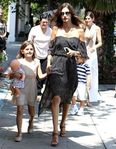 Alessandra Ambrosio is seen out and about with her daughter Anja Louise Mazur in Los Angeles on Aug. 24, 2016