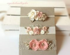Set of Baby Headbands, Three Newborn Headbands in White Gold, Pale Pink, Ivory and Light Brown, Girl Headbands, Vintage Headbands