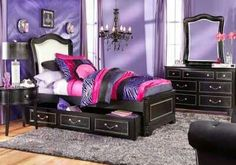 picture of Belle Noir Champagne 6 Pc Twin Canopy Bedroom from Teen ...