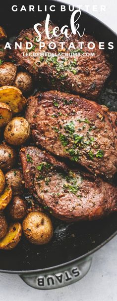 Easy Garlic Butter Steak and Potatoes Skillet with juicy seared steak and crispy roasted potatoes all oven baked in one pan. Nothing goes together better than garlic steak and potatoes! | lecremedelacrumb.com #onepan #onepot #easydinners #steakandpotatoes #dinnerrecipes