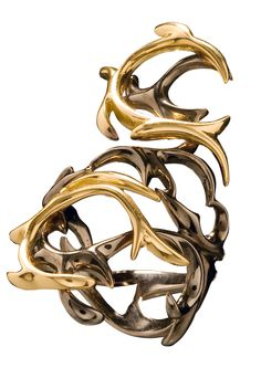 Ring in yellow #gold and #black gold with brown #brilliants form Jugenstijl Collection  www.huffyjewels.com