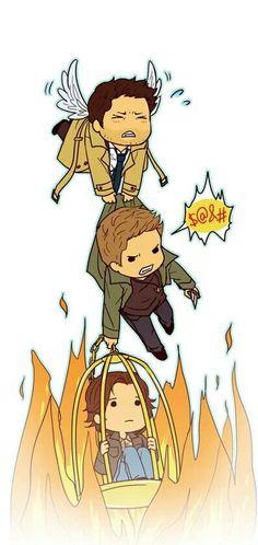 Castiel Dean Winchester Sam Winchester team free will