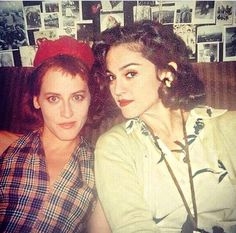 Madonna and Lori Petty while filming Penny Marshall's A League Of Their Own in 1991.