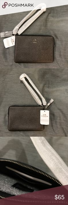 Coach Small Leather Wristlet Color is graphite gray, 4 by 6 inches Coach Bags Clutches & Wristlets