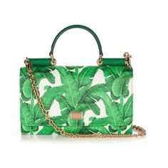 Dolce & Gabbana Mini Von banana leaf-print cross-body bag (76,725 MKD) ❤ liked on Polyvore featuring bags, handbags, shoulder bags, green white, white crossbody purse, chain shoulder bag, crossbody purse, white handbags and white crossbody