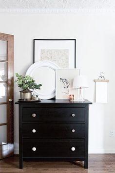 50 ideas for bedroom black dresser styling Bedroom Dressers, Dresser As Nightstand, Ikea Hemnes Chest Of Drawers, Bedroom Dresser Styling, Black Chest Of Drawers, Dresser Top, Home Bedroom, Bedroom Decor, Bedrooms