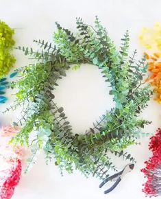 Create a rainbow wreath for your front door with affordable fake flowers and dried florals from Afloral.com. Video by @butfirstparty #pride #pridedecor #rainbowdecor Fake Flowers, Dried Flowers, Eucalyptus Garland, Green Garland, Rainbow Decorations, Wreaths And Garlands, Summer Diy, Free Wedding, Wreaths For Front Door