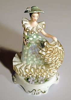 """Vintage Transylvanian Porcelain """"Summer Lady"""" Figurine with Gold Ruffled Lace"""
