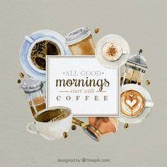 Bom dia com cafés pintados à mão Vetor grátis
