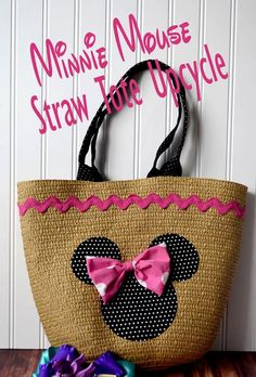 Minnie Mouse Straw Tote Upcyle