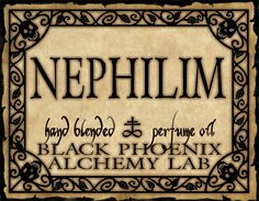 Nephilim - Holy frankincense and hyssop in union with earthy fig, defiled by black patchouli and vetiver, with a chaotic infusion of lavender, cardamom, tamarind, rosemary, oakmoss and cypress.