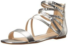 Nine West Womens Securitie Synthetic Dress Sandal Silver 55 M US -- For more information, visit image link.(This is an Amazon affiliate link)