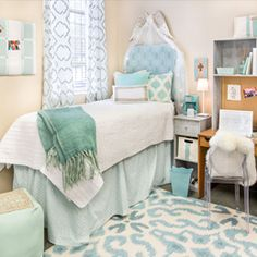 Gorgeous Spa Blue and White!   All from Dorm Decor