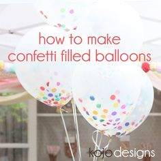 To make a confetti-filled balloon bouquet, first, grab a clear and white balloons. Then, grab a mini handful of tissue paper confetti. Fold the pile of confetti in half, and then in half again. Once you have a little tube of confetti, push the confetti-tube into the neck of the balloon. Poke down until the clump of confetti falls into the balloon. Fill with helium . Add a ribbon tie and you're DONE!: