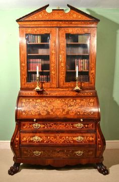 Antique Mahogany Dutch Marquetry Bureau Bookcase circa 1800 image 2