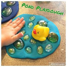 Pond Playdough! {B had so much fun making her duckies a fun place to swim!} #playdough #toddler #toddlerplaydough #toddlerfun #toddleractivities #toddleractivity
