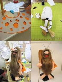 Captain Caveman by BJ Guyer - Puppet Design Studio. Puppet Costume, Marionette Puppet, Puppet Tutorial, Doll Tutorial, Puppet Patterns, Doll Patterns, Types Of Puppets, Captain Caveman, Custom Puppets