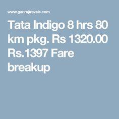 Tata Indigo 8 hrs 80 km pkg. Rs 1320.00  Rs.1397  Fare breakup