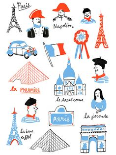 Travel Illustration, Cute Illustration, Tour Eiffel, Illustration Parisienne, France Drawing, Travel Posters, Clipart, Book Design, How To Draw Hands