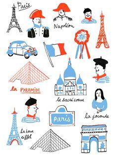 Travel Illustration, Digital Illustration, Cute Illustration, Tour Eiffel, Illustration Parisienne, France Drawing, I Love Paris, Kids Prints, Travel Posters