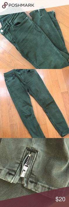 Zara army green ankle zipper skinny pants Size 6. Good used condition. Zippers at ankle. Great wardrobe staple - a fun bit of toughness that's a great balance with florals. Zara Pants Skinny